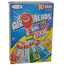 Airheads Chewy Fruit Candy, Variety Pack, 90 Count 3.1lbs