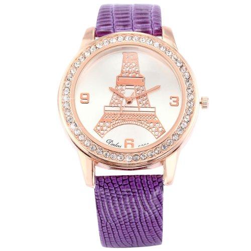 Dalas Luxury Rose Gold Case Crystal Quartz Eiffel Tower Lady Girl Purple Leather Watch WAA543