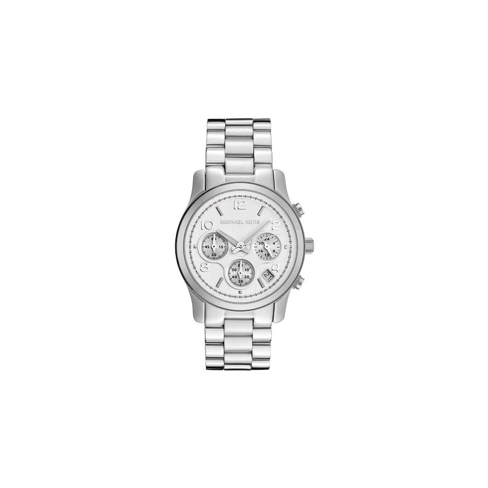 1efc53abadf Michael Kors Quartz Silver Midsized Round Dial Chronograph Women Wrist Watch  Christmas Gift Mk5076 at Women s Watch store.