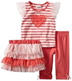 Little Lass Girls 2-6X 3 Piece Skirt Set with Heart