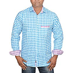 Hunk Men's blue Cotton Shirt