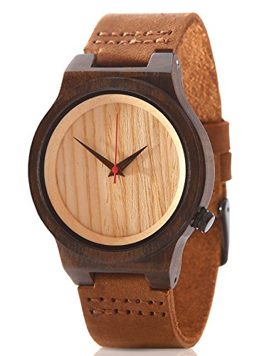 Wood Watch Bamboo Natural Sandalwood Casual Leather Men or Women Gift