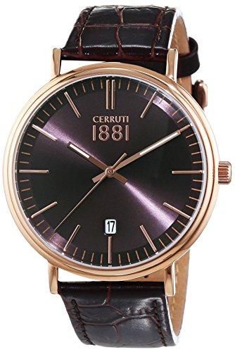 CERRUTI 1881 FABRIANO CRA111SR12BR - Orologio da polso da uomo, cinturino in pelle colore marrone