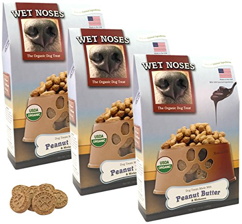 Wet Noses Organic USA Made All Natural Dog Treats, Peanut Butter & Molasses, 3 pack (Wet Noses Peanut Butter compare prices)