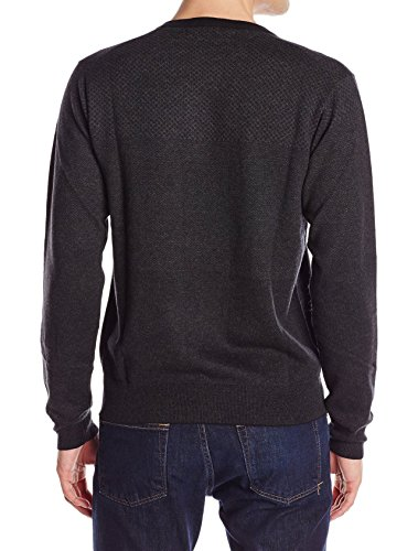 Perry Ellis Men's Tonal Multi Pattern V-Neck Sweater, Black, Large