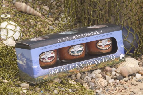 Alaska Smoked Salmon - Copper River Seafoods, Inc. - Trio Gift Box, 2 Pack Gift Set - Smoked Sockeye Salmon - Alder, Apple, Mesquite, 3.5 oz ea. Jar (10.5 oz. total)
