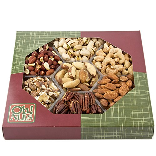 Healthy Dry Roasted 7 Variety Food Gift, No Additives NO OIL NO SALT Great Gift for Him or Her, Vegans and Vegetarians- Oh! Nuts (unsalted Gift Tray)