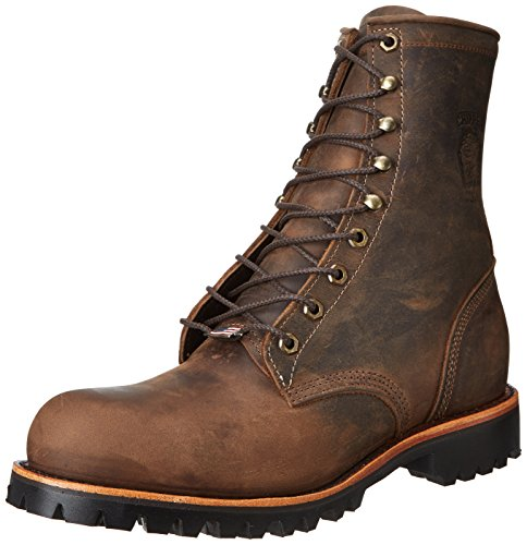 Chippewa Men's 8 Inch Chocolate Apache Steel Toe Lace-Up Rugged Boot