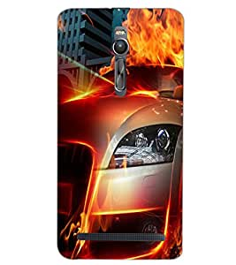 PrintDhaba CONCEPT CAR D-6574 Back Case Cover for ASUS ZENFONE 2 (Multi-Coloured)