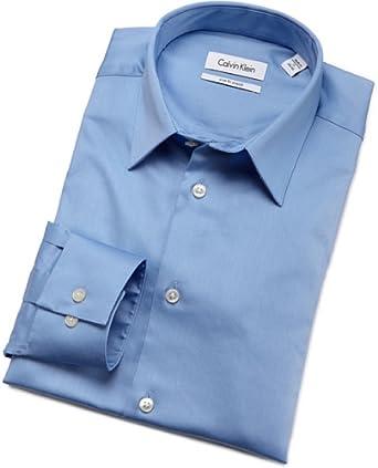 Calvin Klein Mens Body Dress Shirt, Blue Bay, 15.5/34-35