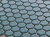 美濃焼モザイクタイル 19mm六角形 ターコイズ 19HEX64