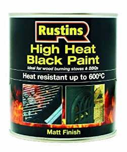 Rustins HRBL500 500ml High Heat Paint - Black