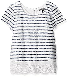 My Michelle Big Girls' Striped Short Sleeve Top with Lace Trim At Hem,Navy,Medium