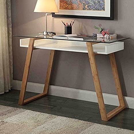 Oslo Sundance MDF and Solid Wood Desk with Tempered Glass Desktop and Solid Bamboo Legs