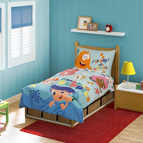 Nickelodeon Bubble Guppies 4 Piece Toddler Bedding Set, Aqua