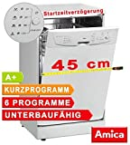 Geschirrspüler 45cm unterbaufähig Spülmaschine Weiß A+ Startzeitwahl