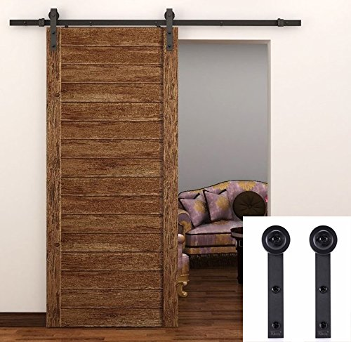 TCBunny Country Steel Sliding Barn Wood Door Hardware Antique Style (Brown) (Barn Door Track Hardware compare prices)