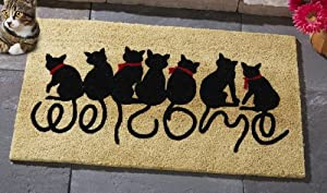 30 welcome kitty black cat lover coco door mat decoration whimsical cute welcoming - Front door mats as a guest greeting tool ...