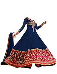 FAUX GEORGETTE ANARKALI SUIT IN NAVY BLUE COLOUR - 1301-Navy Blue (SD-1301)
