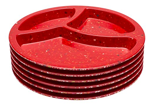 Divided Plate Set Of 6, Red Confetti Design By Zak Designs