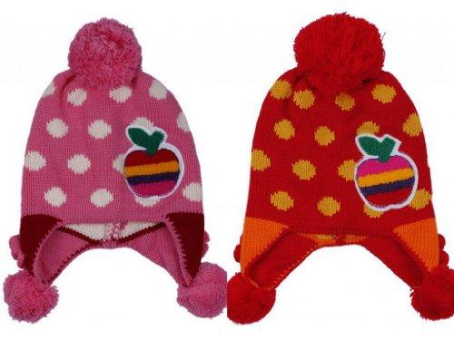 (ポラリス) Polaris 1-5歳赤ちゃんベビーウールカシミヤ耳あて ニット帽子ハット可愛いドット柄アッブルデザイン冬保温防寒能力一流キッズ2色セット(色選べます) (1ピンク+赤褐色)