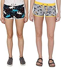 Pepperika Printed Cotton Shorts (Pack Of 2)
