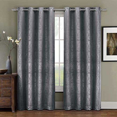 Prairie Gray Grommet Blackout Weave Embossed Window Curtains Drape, 52x84 inches Single Panel, by Royal Hotel (Royal Hotel Drapes compare prices)