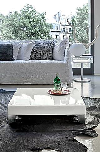 Target, PEGASUS - Tavolino moderno da salotto Bianco laccato lucido con inserti cromo