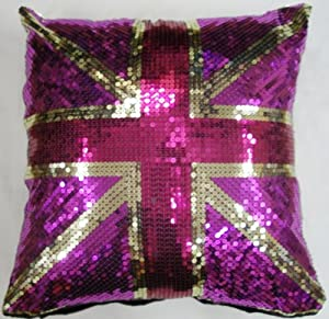 Union jack sequin sparkle cushion cover in pink cerise for Pink union jack bedding