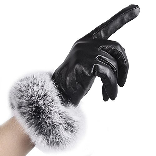Gloves,NOMENI Women leather Gloves Autumn Winter Warm Rabbit Fur gloves