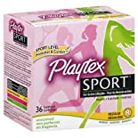 Playtex Sport Tampons, Plastic, Regular Absorbency, Unscented, 36 ct