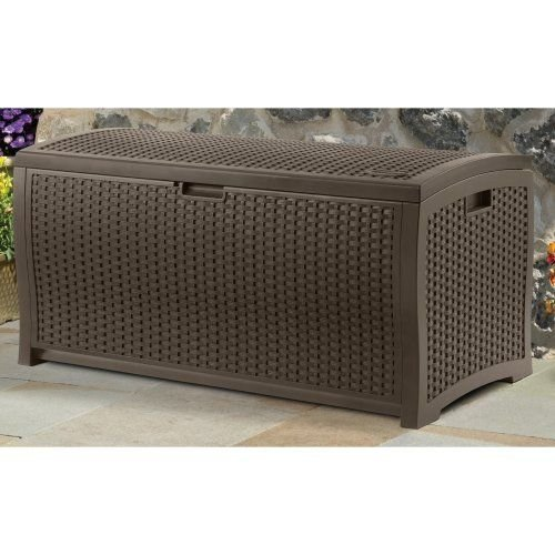 Suncast DBW9200 Mocha Wicker Resin Deck Box, 99-Gallon (Deck Storage Bench compare prices)