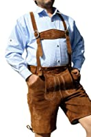 Leather Shorts Trachten Lederhosen with Suspenders in brown