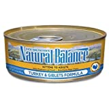 Natural Balance Canned Cat Food, Turkey and Giblets Recipe, 24 x 6 Ounce Pack
