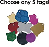 Set of 5 Pet ID Tags | 8 Shapes & 8 Colors to Chose From | Cat Dog Aluminum