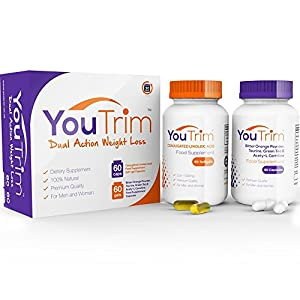 YouTrim DUAL Weight Loss Diet Pills & Fat Burners - LOSE WEIGHT or YOUR MONEY BACK! - 100% Natural Slimming Pills - Hunger Suppressants - Top Selling Diet Pills - PROVEN results - FREE Weight Loss eBook + FREE Diet Plan + FREE Food Guide - As Featured In