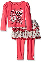 Young Hearts Little Girls' 2 Piece Love Pullover Skirt and Legging, Melon Twist, 2T