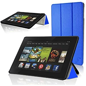 """ForeFront Cases® All-New Kindle Fire HD 7"""" Leather Case Cover / Stand WILL ONLY FIT - All-New Kindle Fire HD 7"""" Tablet October 2013 with Magnetic Auto Sleep Wake Function - BLUE"""