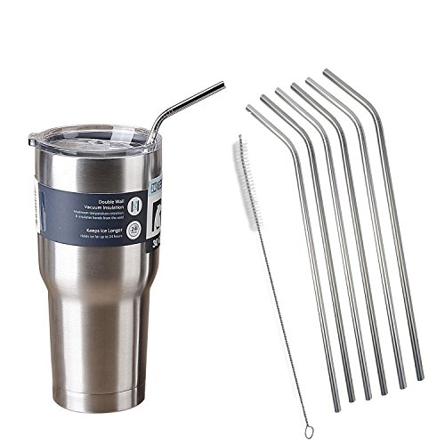 Suphouse Extra Long Bend Stainless Steel Drinking Straws for 20 oz & 30 oz Yeti ,RTIC Rambler Tumbler Cups,Cleaning Brush Included 6 Pack