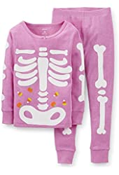 Carter's Little Girls Snug Fit Skeleton Pajamas (Purple) (24 Months)