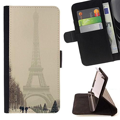 For HTC One A9 Case , Winter Tour Eifel Pastel Romantique Ville - Credit Card Slots PU Wallet Pouch Housse de protection Skin Cas Case Coque