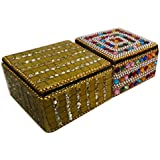 Gold Collection Indian Home Decor Gift Boxes Jewelry Organizer Decorative Table Top Gift Boxes Set Of 2 Pcs