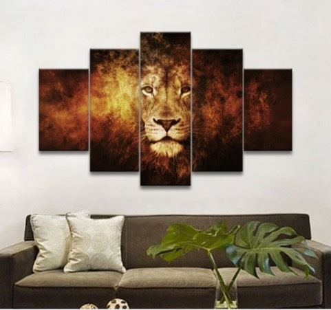 Fine Art 5 Panel Oil Painting Lion Art Canvas Wall Hanging Art Lion King Picture Landscape Modern Living Room Decorative 58