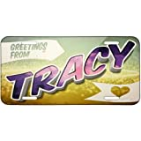 Metal License Plate Greetings from Tracy, Vintage Postcard - Neonblond