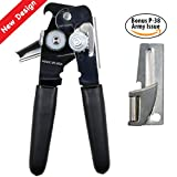 World's Best Can Opener- Made in USA - Sold by Vets – Easy Turn – Carbon Steel Blade - BONUS Shelby P-38 ARMY ISSUED CAN OPENER