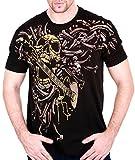 Skull Guitar Men T-Shirt mma Tattoo Biker bmx Crossbones Motorcycle #AF14