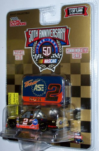 1 of 5,000 Racing Champions NASCAR Gold Commemorative Series 50th Anniversary Bliss Team ASE #2 1:64 Scale Die Cast Body with Opening Hood, Detailed Engine Compartment and Real Rubber Tires - 1