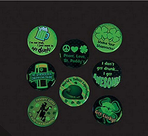 St. Patrick's Day Glow in the Dark Buttons (24 Pieces) Party Favors/Irish - 1
