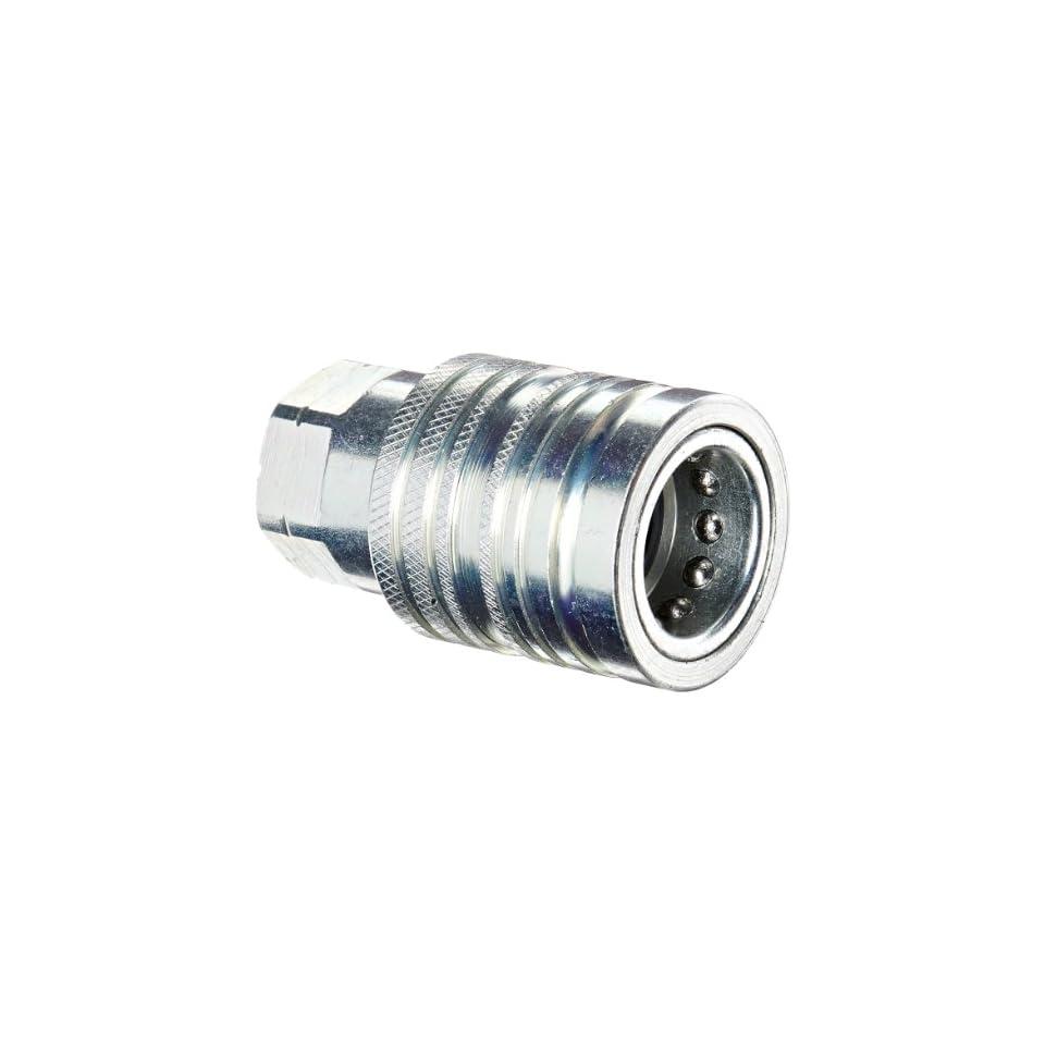 Dixon Valve 4AGF4 PS Steel Agricultural Push Pull Ball Valve Hydraulic Fitting, Socket, 1/2 Coupler x 1/2   14 NPTF Female Thread