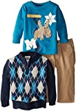 Little Rebels Baby-Boys Infant 3 Piece Sweater Set with Moose Screenprint, Blue, 12 Months
